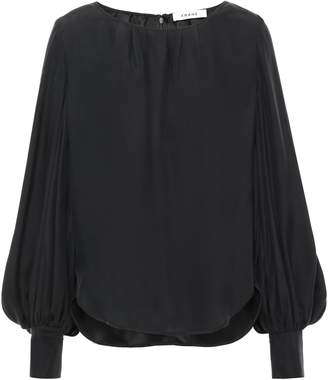 Frame Pleated Washed-silk Blouse