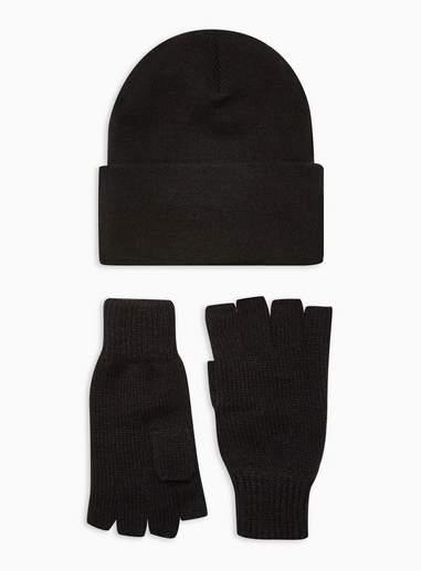 Topman Mens Black Beanie And Gloves 2 Pack