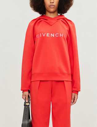 Givenchy Logo-embroidered cotton-blend jersey hoody