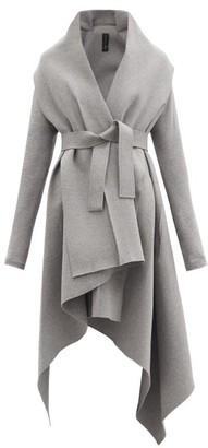Norma Kamali Uneven Blanket Belted Cotton-blend Coat - Light Grey