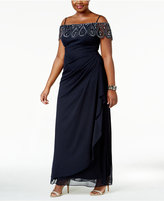 Xscape Evenings Plus Size Off-the-Shoulder Gown
