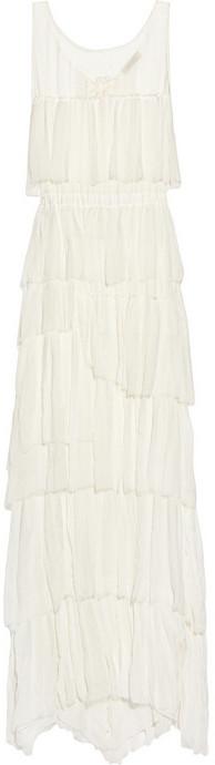 Nina Ricci Tiered crinkled silk-chiffon gown