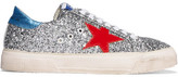 Golden Goose Deluxe Brand May Appliquéd Glittered Leather Sneakers - Silver
