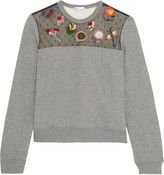 RED Valentino Embroidered point d'esprit-paneled jersey sweatshirt