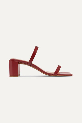 BY FAR Tanya Leather Mules - Burgundy