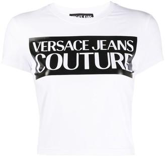Versace printed logo crop T-shirt