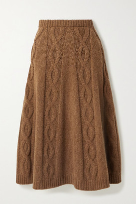Brock Collection Cable-knit Cashmere Midi Skirt - Brown