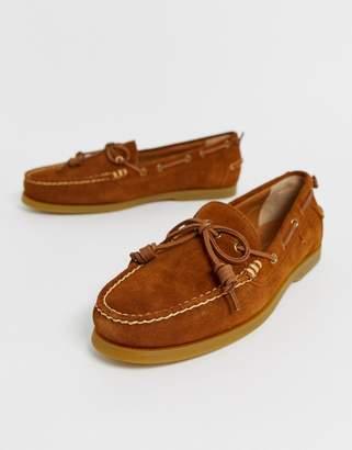 Polo Ralph Lauren millard suede slip on boat shoes in tan