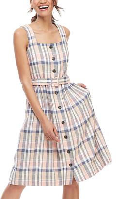 Gal Meets Glam Women's Casual Dresses NAVY/PEACH - Navy & Peach Plaid Belted Peyton Linen-Blend Button-Up A-Line Dress - Women & Juniors