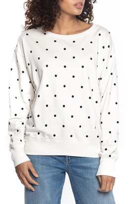 Found Denim Polka Dot Long Sleeve Crewneck T-Shirt