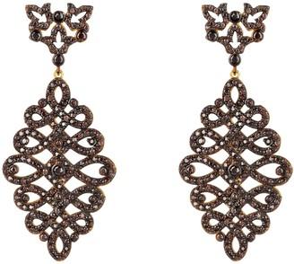 Latelita Calligraphy Drop Earrings Gold Chocolate Cz