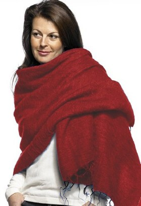 Cool Trade Winds Scarf / Wrap Red / Yellow - 100% Fair Trade Yak Cotton Shawl