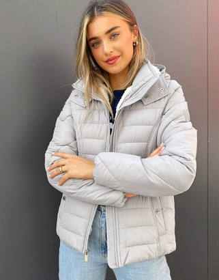 Hollister puffer jacket with hood in grey