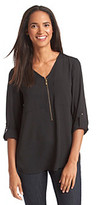 Chaus Zip Neck Roll Tab Blouse