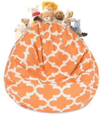 Majestic Home Goods Trellis Stuffed Animal Storage Bean Bag Chair Cover w/ Transparent Mesh Base, Multiple Colors