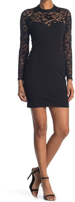 GUESS Sheer Lace Sleeve Bodycon Dress
