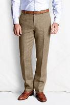 Lands' End Men's Plain Front Tailored Fit Pattern Linen Trousers
