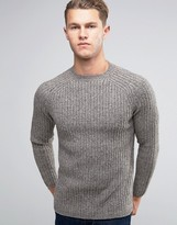 New Look Crew Neck Ribbed Knit Sweater In Gray