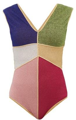 Oseree Lumiere Colour-block Metallic Swimsuit - Womens - Multi