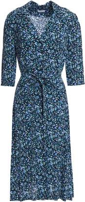 Claudie Pierlot Belted Floral-print Crepe Shirt Dress