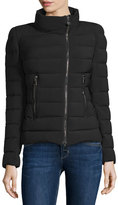 Moncler Antigone Asymmetric-Zip Puffer Jacket, Black