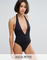 Asos Ruched Plunge High Leg Halter Swimsuit