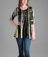 Lily Black Branches Scoop Neck Tunic - Plus Too