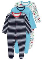 George 3 Pack Assorted Dinosaur Sleepsuits