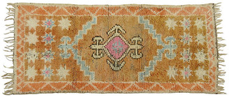 One Kings Lane Vintage Honey and Pink Vintage Rug - Habibi Imports - gold/pink/blue
