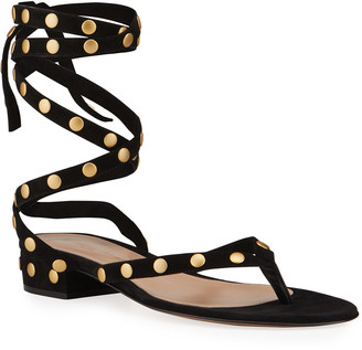 Gianvito Rossi Studded Suede Ankle-Tie Thong Sandals