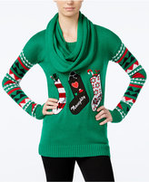 Planet Gold Juniors' Stockings Holiday Sweater with Scarf