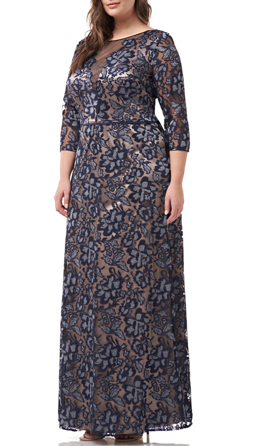 JS Collections Floral Embroidered Mesh Gown