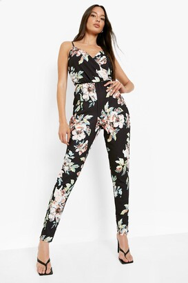 boohoo Floral Print Cami Wrap Strappy Jumpsuit