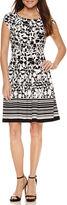 Robbie Bee Short Sleeve Fit & Flare Dress-Petites