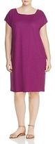 Eileen Fisher Plus Short Sleeve Square Neck Dress