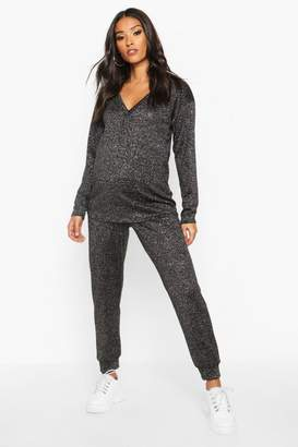 boohoo Maternity V-Neck Shimmer Lounge Set