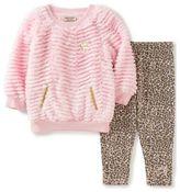 Juicy Couture juicycoutureTM 2-Piece Fur Top and Cheetah Print Pant in Pink