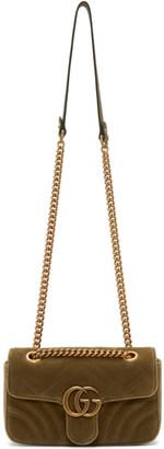 Gucci Tan Velvet Mini GG Marmont 2.0 Bag