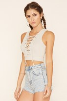Forever 21 FOREVER 21+ Lace-Up Ribbed Knit Crop Top