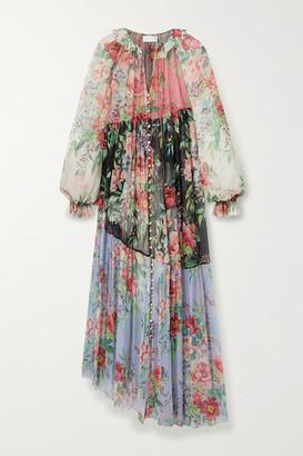 Zimmermann Bellitude Patchwork Floral-print Silk-georgette Maxi Dress - Black