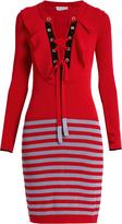 Sonia Rykiel Lace-up ribbed-knit striped dress