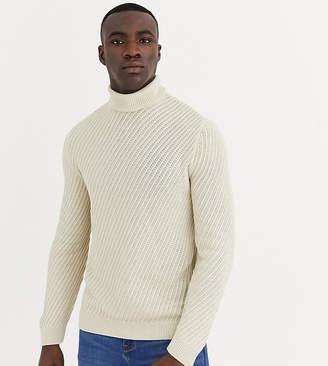 Asos Design DESIGN Tall roll neck sweater with diagonal rib texture in ecru-Cream