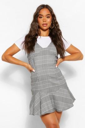 boohoo Check Drop Hem Flippy Dress