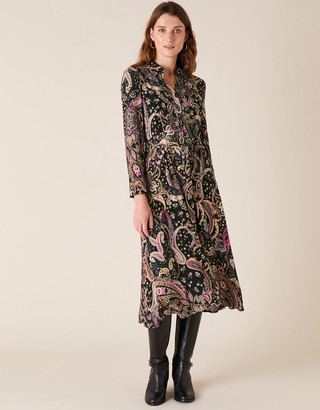 Monsoon Paisley Shirt Dress with Sustainable Viscose Black