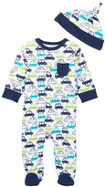 Offspring Cars Footie & Hat (Baby Boys)
