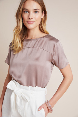 Anthropologie Boxy Silk Tee By in Beige Size S