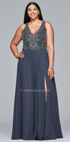 Faviana Plunging Chiffon Beaded A-line Plus Size Prom Dress
