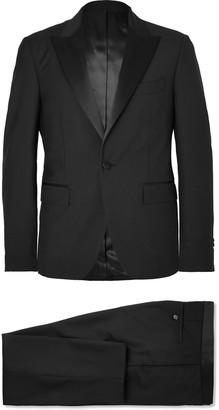 Salle Privée Black Gaspar Slim-Fit Satin-Trimmed Wool And Mohair-Blend Tuxedo