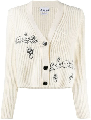 Ganni Embroidery Ribbed Knit Cardigan
