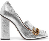 Gucci Fringed Metallic Cracked-leather Pumps